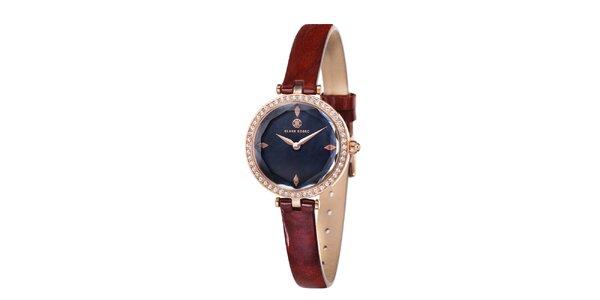 Dámske zlato zafarbené hodinky s čiernym ciferníkom Klaus Kobec