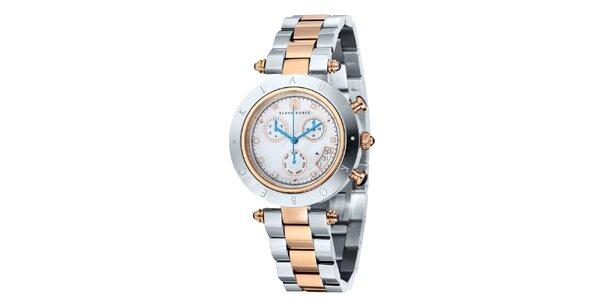 Dámske dvojfarebné hodinky s nápisom na lunete Klaus Kobec