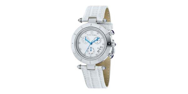 Dámske hodinky s modrými ručičkami a nápisom na lunete Klaus Kobec