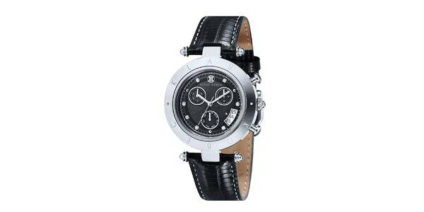 Dámske čierne hodinky s nápisom na lunete Klaus Kobec