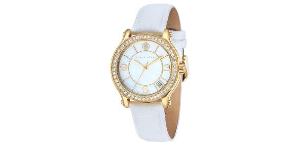 Dámske hodinky s bielym remienkom Klaus Kobec