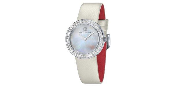 Dámske oceľové hodinky s perleťovým ciferníkom Klaus Kobec