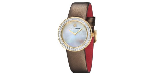 Dámske oceľové hodinky s perleťovým ciferníkom a hnedým remienkom Klaus Kobec
