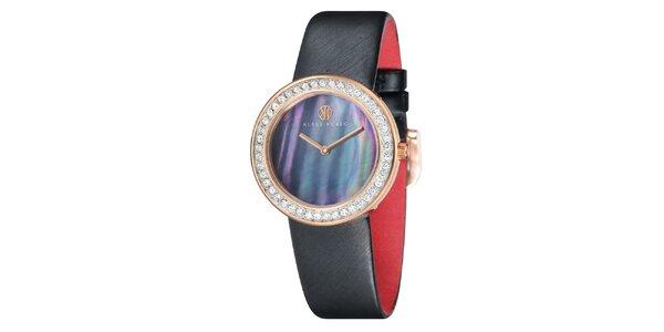 Dámske oceľové hodinky s perleťovým ciferníkom a čiernym remienkom Klaus Kobec