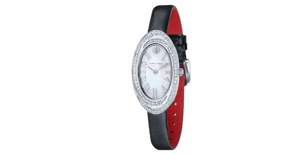 Dámske hodinky s bielymi kamienkami a čiernym remienkom Klaus Kobec