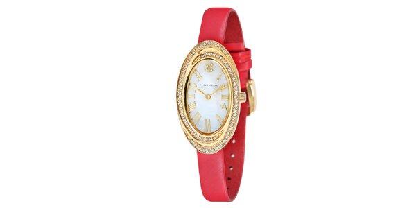 Dámske hodinky s bielymi kamienkami a červeným remienkom Klaus Kobec