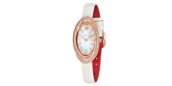 Dámske hodinky s bielymi kamienkami Klaus Kobec