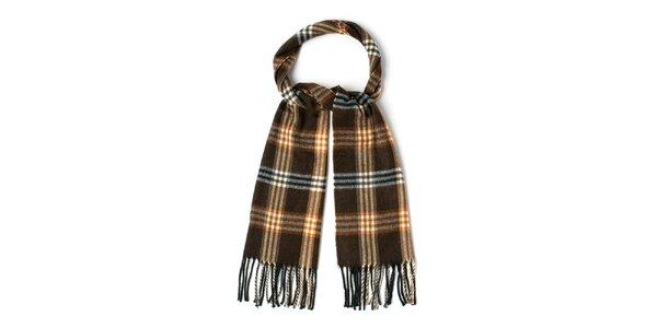 Pánsky hnedý vzorovaný šál so strapcami Timberland