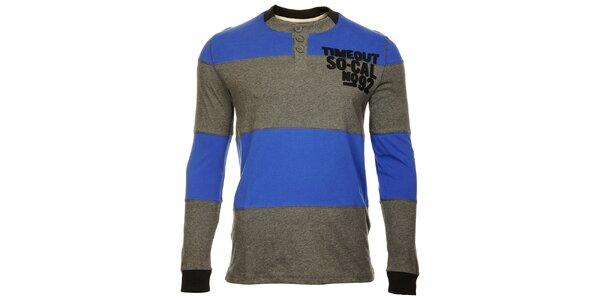 Pruhované šedomodré pánske tričko Timeout s dlhým rukávom