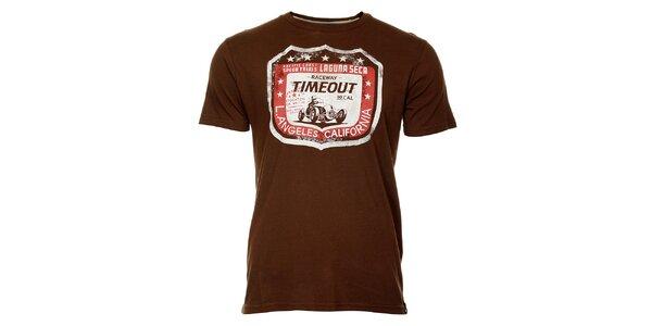 Pánske hnedé tričko Timeout s potlačou