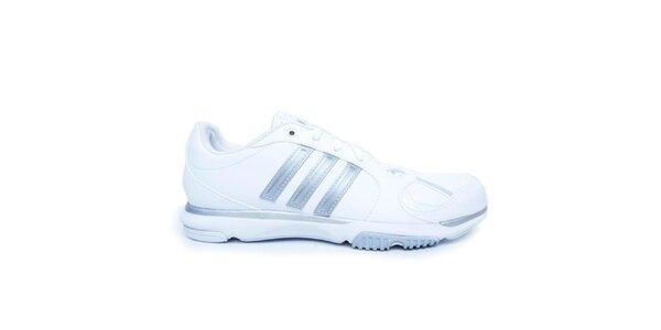 Dámske biele tenisky so striebornými detailmi Adidas