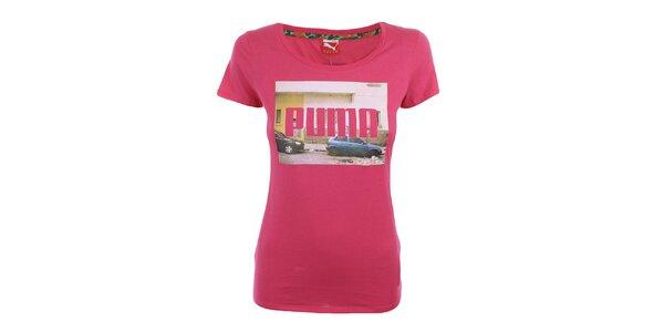 Dámske sýto ružové tričko s potlačou Puma