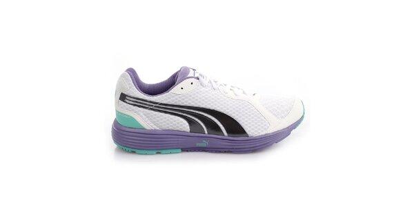 Dámske bielo-fialové športové tenisky s farebnými detailmi Puma