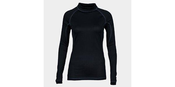 Dámske čierne funkčné tričko Sweep s dlhým rukávom a stojačikom