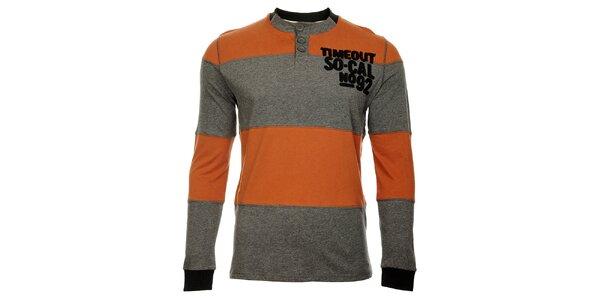 Pruhované oranžovošedé pánske tričko Timeout s dlhým rukávom