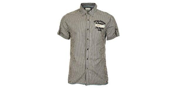 Pánska černo biela košeľa Timeout s krátkym rukávom