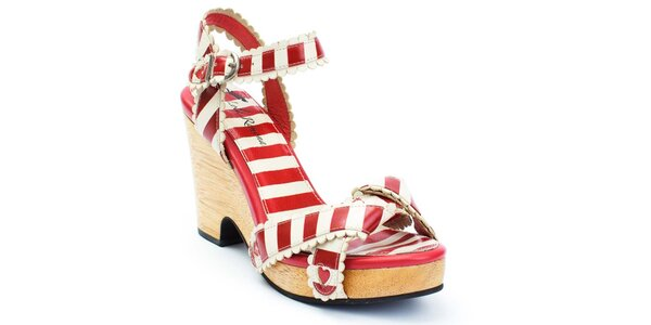 Dámske pruhované sandálky na opätku so srdiečkami Lola Ramona
