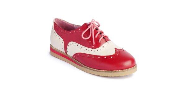 Dámske červeno-biele poltopánky Lola Ramona