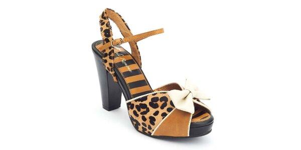 Dámske sandále s leopardím vzorom a mašľou Lola Ramona