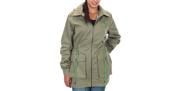 Dámska khaki bunda s vreckami a kapucňou Zoo York