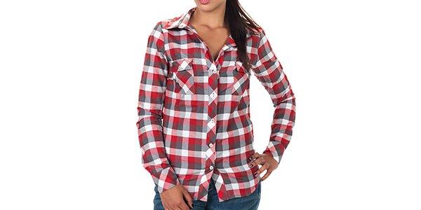 Dámska červeno kockovaná košeľa s dlhým rukávom Zoo York