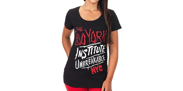 Dámske čierne predĺžené tričko s farebnou potlačou Zoo York