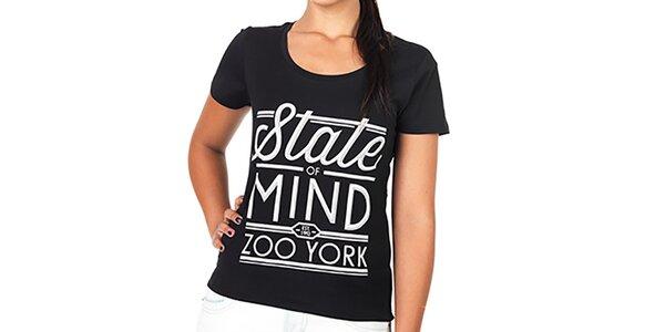Dámske čierne tričko s bielou potlačou Zoo York