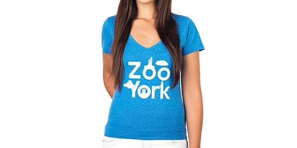 Dámske modré tričko s hlbokým výstrihom Zoo York
