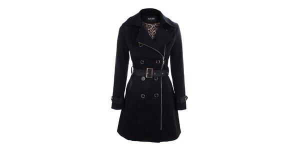 Dámsky čierny kabát s opaskom Blu Deise