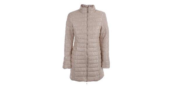 Dámsky béžový prešívaný kabát s čipkou B.style