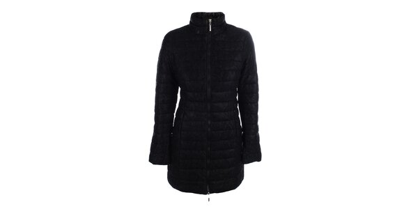 Dámsky čierny prešívaný kabát s čipkou B.style