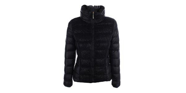 Dámska čierna prešívaná bunda s čipkou B.style
