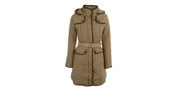 Dámsky béžový prešívaný kabát s kapucňou Samar Moda