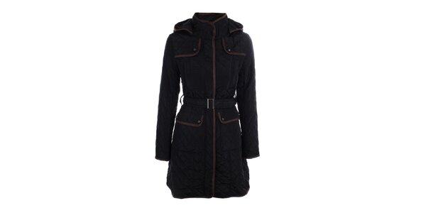 Dámsky čierny prešívaný kabát s kapucňou Samar Moda