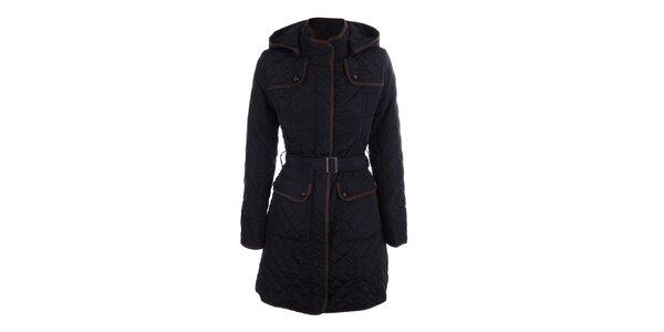Dámsky tmavo modrý prešívaný kabát s kapucňou Samar Moda