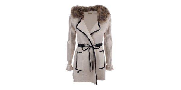 Dámsky béžový kabátik s kožúškom Preziosa