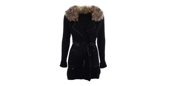 Dámsky čierny kabátik s kožúškom Preziosa