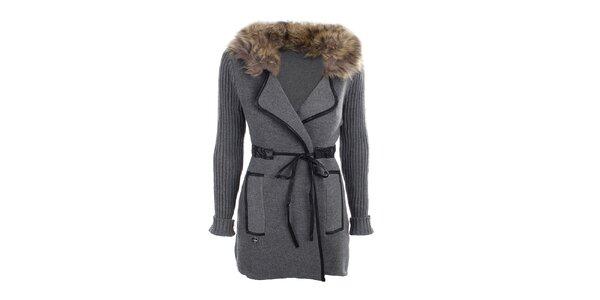 Dámsky šedý kabátik s kožúškom Preziosa