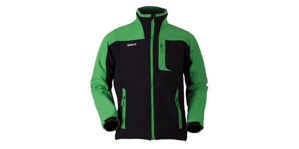 Pánska čierno-zelená softshellová bunda Izas