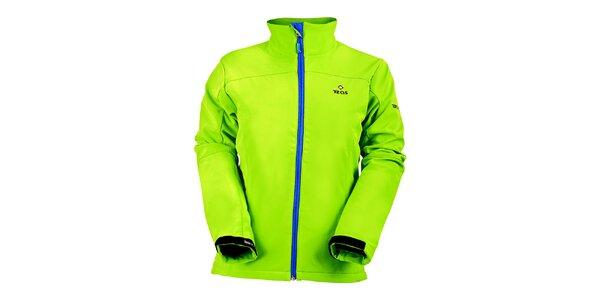 Dámska svetlo zelená softshellová bunda s modrým zipsom Izas