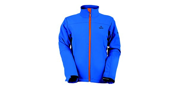 Dámska modrá softshellová bunda s oranžovým zipsom Izas