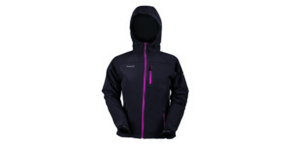 Dámska softshellová čierna bunda s farebným zipsom Izas
