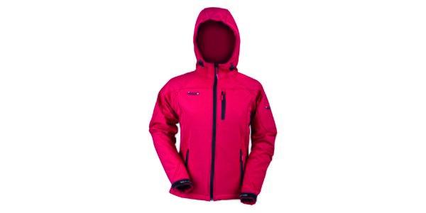 Dámska softshellová červená bunda s čiernym zipsom Izas