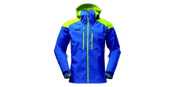 Pánska modrá softshellová bunda so zelenými prvkami Izas