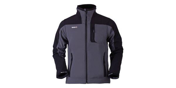 Pánska šedo-čierna softshellová bunda Izas