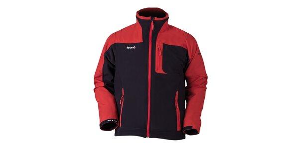 Pánska čierno-červená softshellová bunda Izas