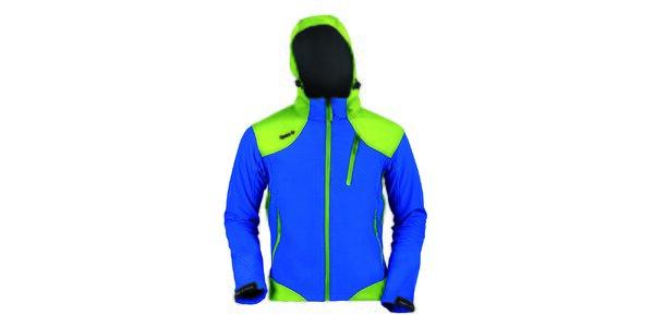 Pánska modro-zelená softshellová bunda Izas