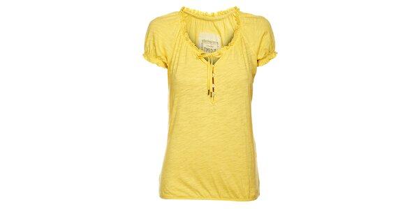 Dámske svetlo žlté tričko Timeout s volánmi