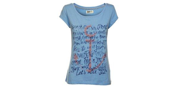 Dámske nebesky modré tričko Timeout s potlačou