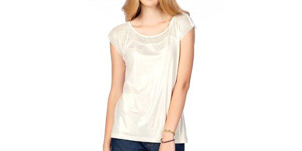 Dámsky lesklý biely top s transparentnými ramenami Jimmy Key